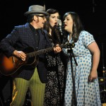 "The Secret Sisters and Elvis Costello perform on ""Front Row Center.""  Photo by Lester Cohen."